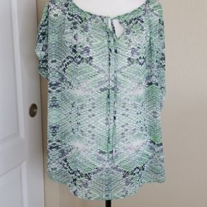 CAbi #746 Darby green blouse | Large